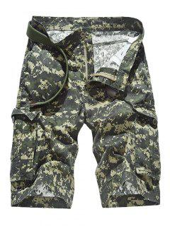 Zipper Fly Straight Leg Camouflage Pattern Pockets Design Shorts For Men - Army Green 32