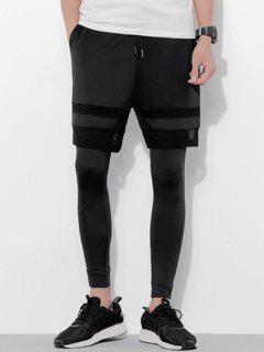 Lace-Up Grid Splicing Design Shorts + Legging For Men - Black M