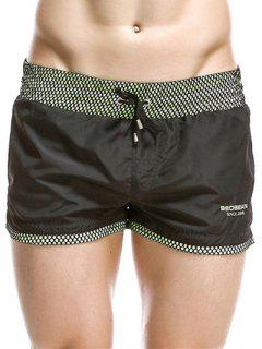 Casual Drawstring Waistband Loose Boxer Shorts - Black L