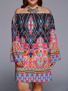 Off-The-Shoulder Plus Size Print Long Sleeve Shift Dress - Black 5xl
