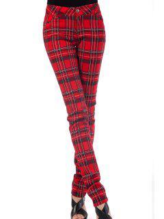 Plaid Pencil Pants - Red L