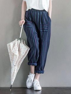 Pockets Stripes Harem Pants - Deep Blue S