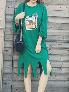 Loose Fitting Elephant Print Tassels Dress - Green