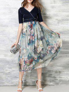 Empire Waist Denim Chiffon Dress - S
