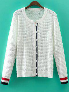Recortable Cuello Redondo De Manga Larga Cardigan - Blanco M