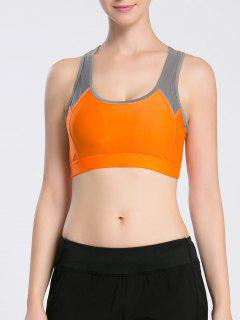 Racerback Bicolor Sport Bra - Orange S