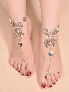 Water Drop Sequins Toe Ring Anklet - Silver