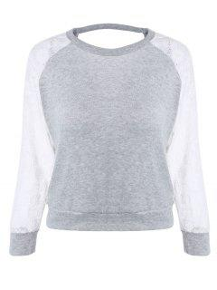 Raglan Sleeve Lace Spliced Backless Sweatshirt - Gray M