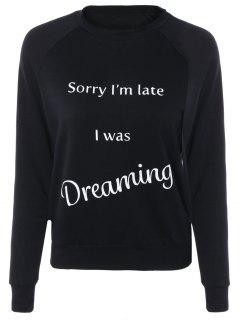 Letter Printed Raglan Sleeve Sweatshirt - Black S
