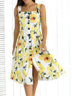 Straps Lemon Print Single-Breasted Dress - Yellow S