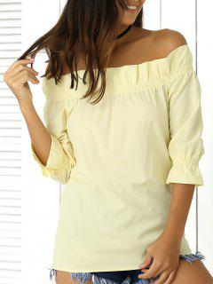 3/4 Sleeve Off The Shoulder Ruffles Solid Color Blouse - Light Yellow S