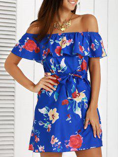 Robe Élégante épaule Dénudée Ruche Volante à Fleur Imprimée Pour Femmes - Bleu S