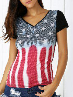 Star Print Plunging Neck Short Sleeve T-Shirt - Blue L