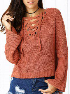 Lace Up V Neck Long Sleeve Sweater - Brick-red