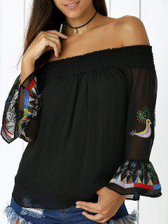 Bird Embroidery Off The Shoulder Blouse - Black M
