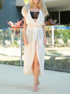 Crochet Hollow V-Neck Cover-Up Dress - Apricot
