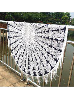 Mandala Printed Tasseled Tablecloth Round Beach Throw - White And Black