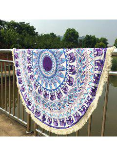 Elephant Pattern Long Fringe Round Beach Throw - Purple