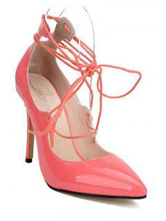Patent Leather Lace-Up Pumps - Pink 38
