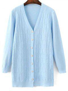 Argyle V Neck Single-Breasted Cardigan - Light Blue
