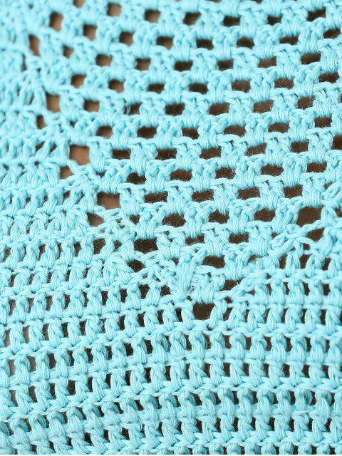 fashion Green Crochet High Neck Swim Top - BLUE ONE SIZE Mobile