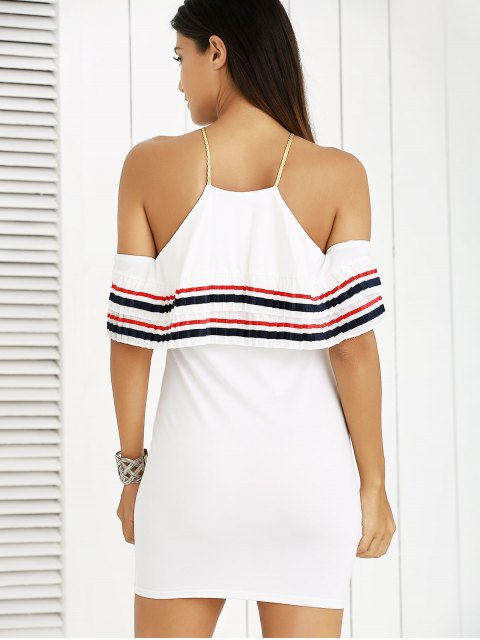fashion Cami Striped Flounce Ruffles Cold Shoulder Dress - WHITE L Mobile
