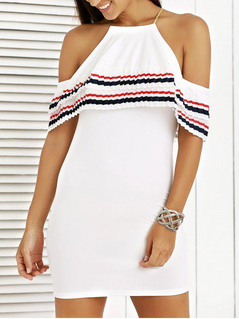 chic Cami Striped Flounce Ruffles Cold Shoulder Dress - WHITE M Mobile