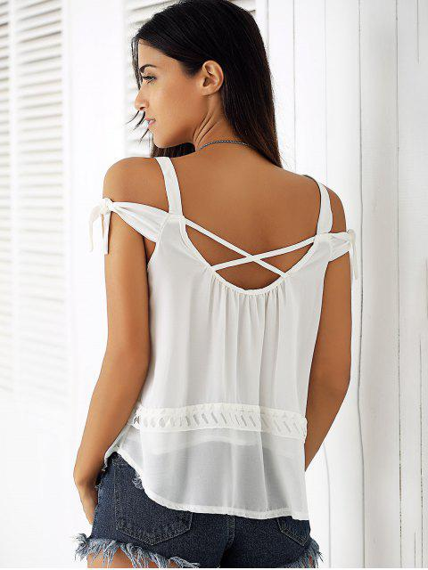 womens White Hollow Cami Off The Shoulder Blouse - WHITE M Mobile