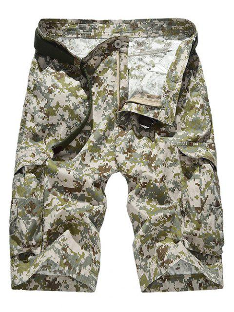 Zipper Fly Straight Leg Camouflage Motif poches de conception Shorts pour hommes - Kaki 36 Mobile