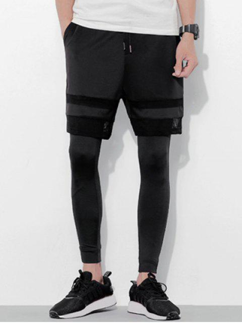 hot Lace-Up Grid Splicing Design Shorts + Legging For Men - BLACK M Mobile
