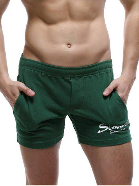 trendy Casual Style Pockets Design Letter Print Lounge Shorts For Men - BLACKISH GREEN M Mobile