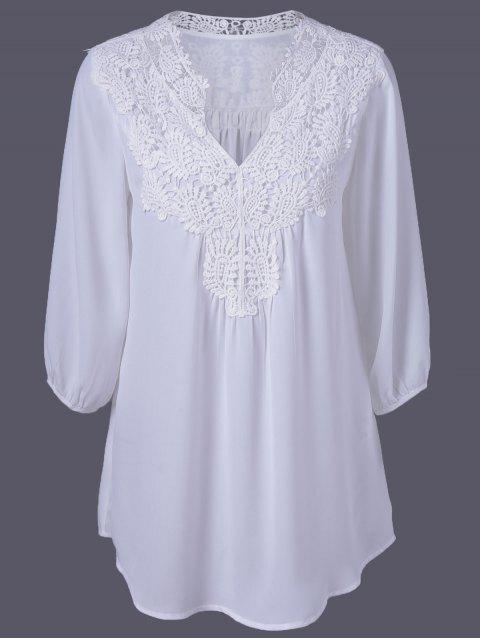 Übergröße Tunika Bluse mit Häkeln Trimm - Weiß 2XL Mobile