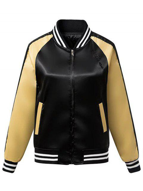 women Wings Embroidered Stand Neck Long Sleeve Jacket - BLACK M Mobile