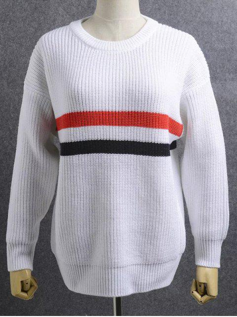 trendy Loose Striped Jewel Neck Long Sleeve Knitwear - WHITE ONE SIZE Mobile