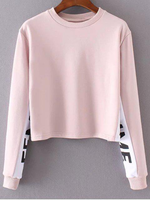 affordable Letter Print Jewel Neck Long Sleeve Sweatshirt - PINK S Mobile