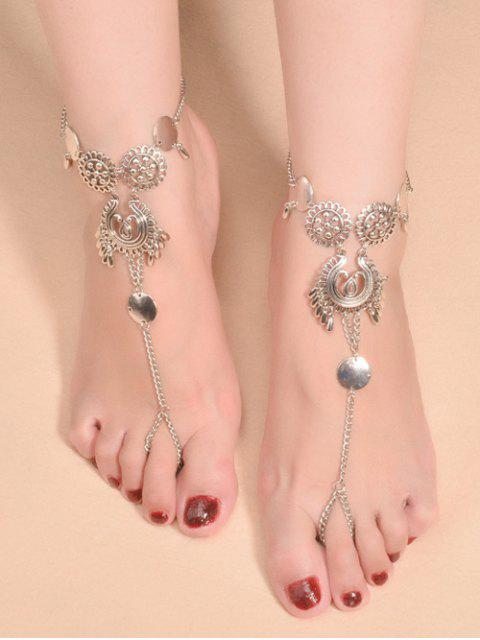 buy Water Drop Sequins Toe Ring Anklet - SILVER  Mobile