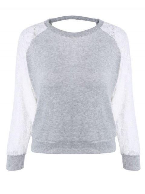 fancy Raglan Sleeve Lace Spliced Backless Sweatshirt - GRAY M Mobile