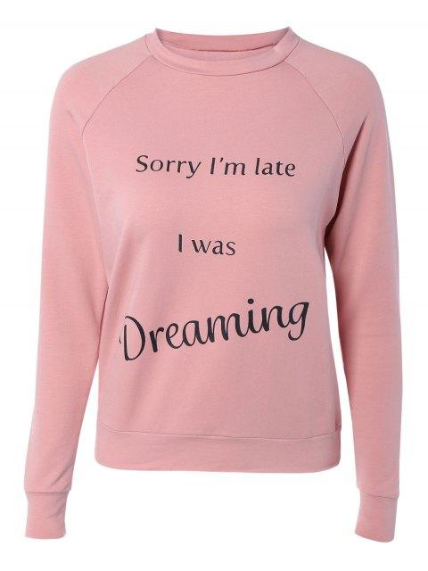 Lettre Imprimé Raglan Sleeve Sweatshirt - ROSE PÂLE M Mobile