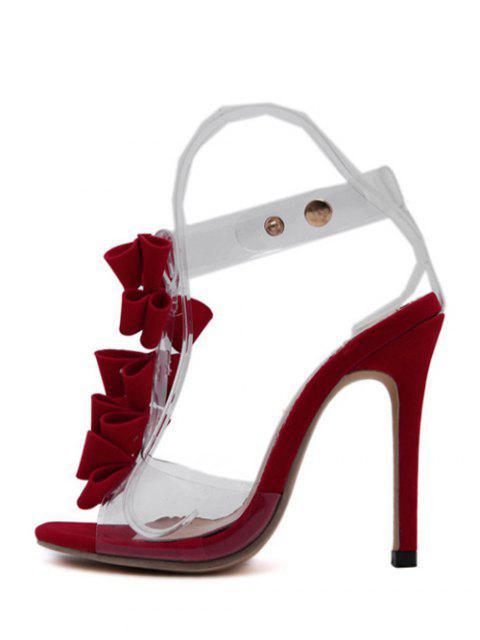 unique Transparent Plastic Bow Stiletto Heel Sandal - RED 39 Mobile