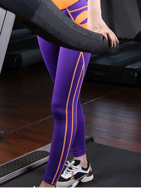 buy Sporty Color Block Skinny Leggings - PURPLE M Mobile