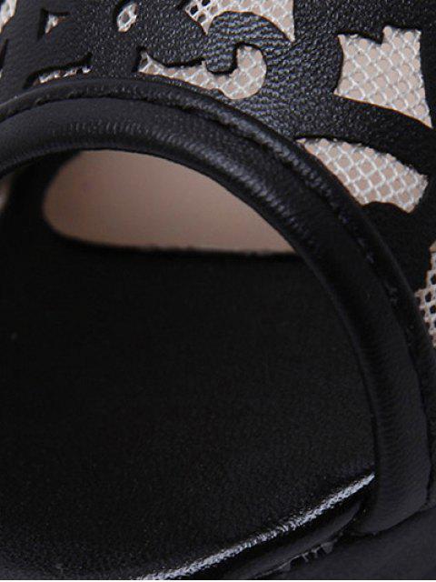 latest Black Hollow Out Mesh Peep Toe Shoes - BLACK 40 Mobile