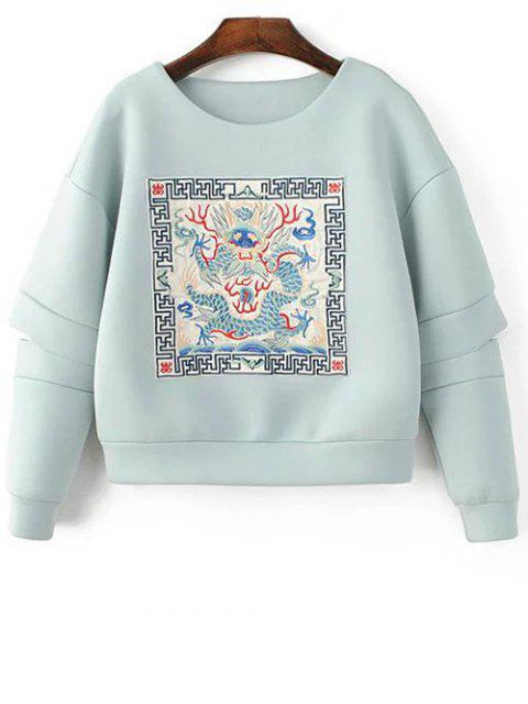 latest Embroidered Round Neck Cutout Sweatshirt - LIGHT BLUE M Mobile