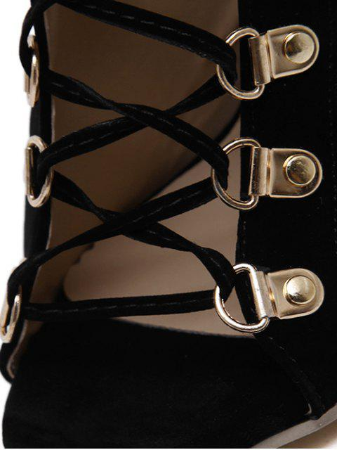 fancy Tie Up Black Stiletto Heel Peep Toe Shoes -   Mobile