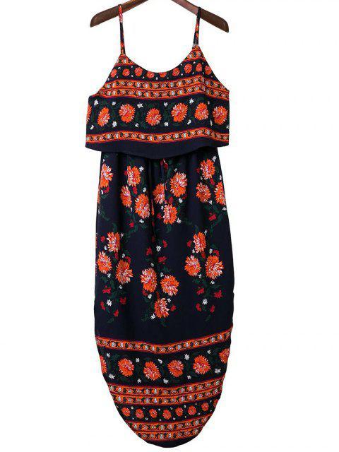 Impreso de correas espaguetis vestido de la raja del colmo - ROJO CON NEGRO M Mobile