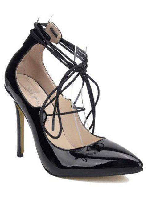 unique Patent Leather Lace-Up Pumps - BLACK 37 Mobile