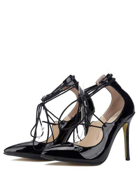 chic Patent Leather Lace-Up Pumps - BLACK 39 Mobile