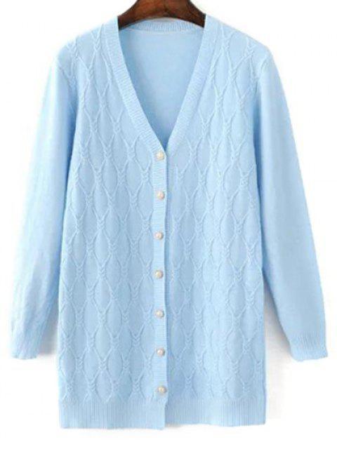 women Argyle V Neck Single-Breasted Cardigan - LIGHT BLUE ONE SIZE Mobile