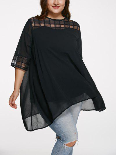 Image of 3 4 Sleeve See Through Plus Size Blouse