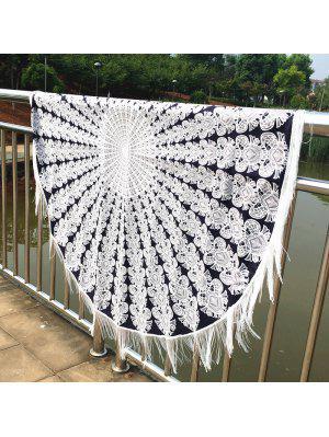 Mandala Printed Tasseled Tablecloth Round Beach Throw
