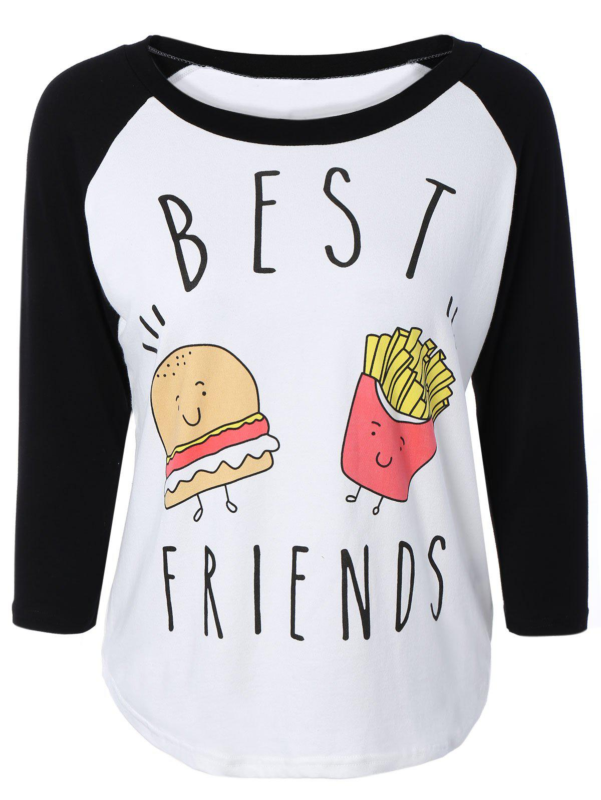 Hamburger Print Raglan Sleeve Baseball T-Shirt 190873706